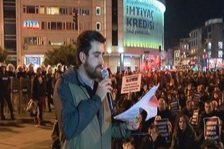 Protesto gösterisinde yasa dışı slogan gerginliği