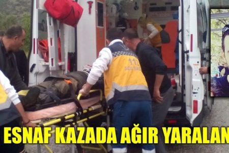 Genç esnaf kazada ağır yaralandı
